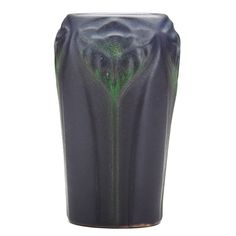 VAN BRIGGLE  Early vase with stylized flowers, matte purple and green glazes, Colorado Springs, CO, 1903