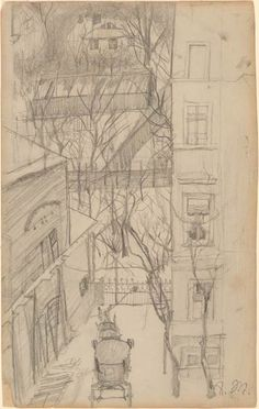 Adolph Menzel | Street Scene | Drawings Online | The Morgan Library & Museum