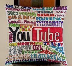 youtubers collage colorfull fan art troye sivan pillow cases size 20x20 two side #Modern