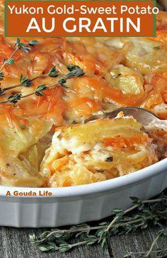 Yukon Gold Sweet Potato Au Gratin ~ sliced sweet and yukon potatoes in a creamy, cheesy sauce baked until golden and bubbly. Potato Gratin Recipe, Potatoes Au Gratin, Sliced Potatoes, Yukon Potatoes, Gold Potato Recipes, Potato Dishes, Side Dish Recipes, Veggie Recipes, Cooking Recipes