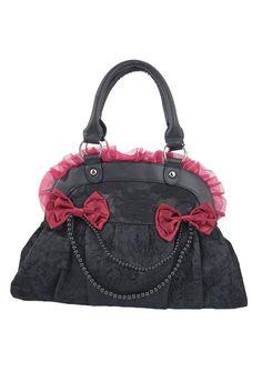 Banned Victorian Gothic Emo Princess Velvet Skull Flocked with Bows Handbag