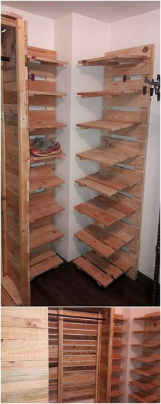 To place all your shoe items in one manageable position, choosing the idea of the shoe rack stand is great option for you. To grab a simple yet creative shoe rack design, here we have the wood pallet Furniture Logo, Pallet Furniture, Furniture Design, Smart Furniture, Steel Furniture, Diy Pallet Projects, Wood Projects, Pallet Ideas, Flower Power