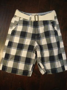 Mens AE 11.5 Longboard Plaid Short and Belt 32 Navy Blue American Eagle #AmericanEagleOutfitters #CasualShorts