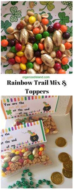 This rainbow trail mix recipe is so easy and grab your free printable toppers for treat bags!