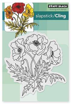Poppy Trio - Slapstick - Cling Rubber Stamp