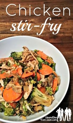 CHICKEN STIR-FRY-I usually don't like stir-fry, but this was actually really good. The whole thing made about 8 cups. I used 2 cups per serving but everyone is different :)