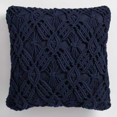 Cost Plus World Market Navy Blue Macrame Indoor Outdoor Throw Pillow#ad