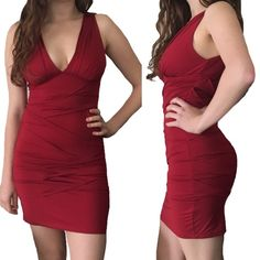 Sexy Bodycon V-neck Dress Red bodycon dress with flattering ruched effect. V-neck provides great support and a super flattering look! Size M, fits sizes 2-4. NikiBiki Dresses Mini