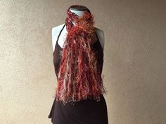 Cherries Flambe Handknit Ribbon Scarf in Burnt Orange, Copper, Rust, Brown, Burgundy and Amber by Crickets Creations - perfect gift for autumn complexions