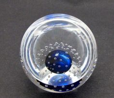 Blue Glass hand made paperweight air bubbles half dome