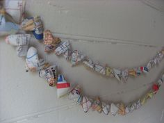 Upcycled US Atlas Origami Hearts Garland