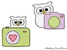 Doodle Kamera Eulen Stickdateien Set. photoshoot owls. Doodle appliqué embroidery design for embroidery machines.  #camera #paparazzi #sticken