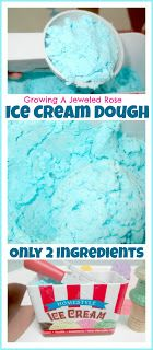 Ice Cream Dough: Baking Soda, Water, and Kool-aid or flavor extracts such as vanilla (for scent). Add food coloring if extra color is desired.