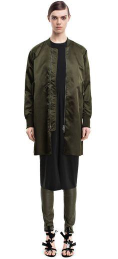 Eclipse shine military green a-line bomber coat #AcneStudios #PreFall2014