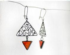 Red cherries earrings filligree leaf stained glass от ArtKvarta
