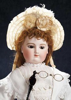 The Stein am Rhein Museum Collection: 356 Grand French Bisque Brown-Eyed Poupee with Fine Early Costume and Lorgnette