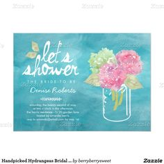 "Handpicked Hydrangeas Bridal Shower Invitation 5"" X 7"" Invitation Card"