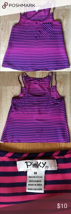 Pinky top. Size M. Color: pink w navy blue stripes Pinky top. Size M. Color: pink w navy blue stripes Pinky Tops Blouses