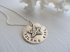 Island Girl Starfish Necklace,surf jewelry,beach jewelry- artisan handmade starfish,hand stamped, sterling silver metalsmith jewelry by JoDeneMoneuseJewelry on Etsy https://www.etsy.com/au/listing/150624670/island-girl-starfish-necklacesurf