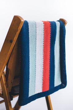 sully baby blanket by leila raabe / from the little monsters collection / in quince & co. willet, colors starboard, windlass, dinghy, and flare