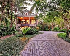 lush landscaping and brick driveway
