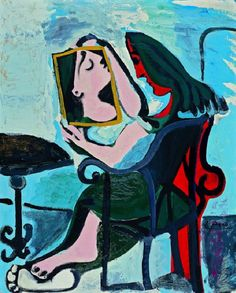 Artwork by Pablo Picasso - Femme au Miroir, Pablo Picasso, Kunst Picasso, Art Picasso, Picasso Blue, Picasso Paintings, Magritte, Culture Art, Georges Braque, Post Impressionism