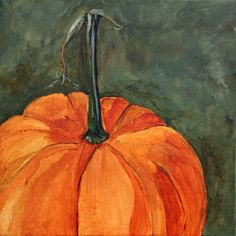 Pumpkin Please by Sally Evans - Acrylic, Oil Pastel on Canvas - The sight of a pumpkin patch or pumpkins lined up on hay bales makes me happy.