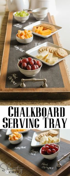 25 Creative DIY Chalkboard Projects - DIY Chalkboard Serving Tray via Shanty 2 Chic. I absolutely adore these trays. My friend made this one for a party and they worked great! Make A Chalkboard, Chalkboard Ideas, Do It Yourself Inspiration, Shanty 2 Chic, Do It Yourself Wedding, Ideias Diy, Diy Projects To Try, Homemade Gifts, Diy Home Decor