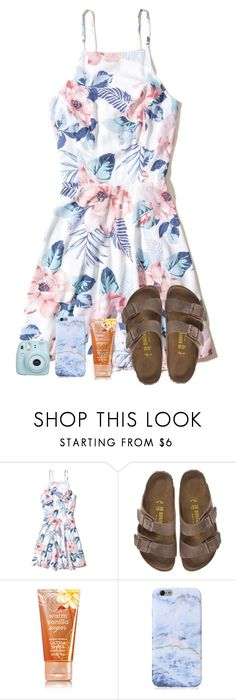 """""""Good vibes only"""" by sweet-n-southern ❤ liked on Polyvore featuring Hollister Co., Birkenstock and Fujifilm"""