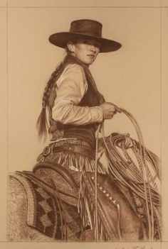 In the Traditions of Her Father by Carrie Ballantyne Cowgirl And Horse, Cowboy Art, Old West, Westerns, Estilo Cowgirl, Faye Valentine, Cow Girl, Vintage Cowgirl, Western Girl
