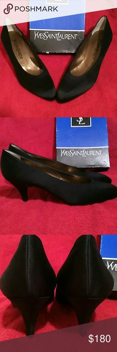 Authentic Black Yves Saint Laurent Pump Black satin YSL Yves Saint Laurent with kitten heel pumps they have never been worn and come with the box.They have a 3 inch heel and are for narrow foot.  They are a 9N are perfect for that little black dress or even for work.Although the reason I pushed the no button is because I don't have any paper receipt for the shoes .  I do accept offers, but please remember after Poshmark gets their %, and what I paid for the item,  there isn't much left,  so…