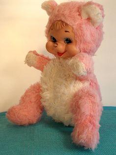Rushton Rubber Faced Pink Plush Bear Happy Teddy Vintage Stuffed Animal Toy   eBay