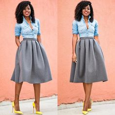 Fitted Denim Shirt + Full Pleated Skirt Denim Shirt x Full Midi Skirt Fashion Mode, Modest Fashion, Look Fashion, Fashion Outfits, Womens Fashion, Street Fashion, Fashion Trends, Skirt Outfits, Cute Outfits