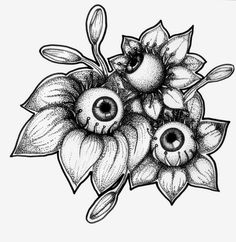 Flowered Eyes-dot work drawing ink on paper drawings sketches trippy Drawing Sketches, Cool Drawings, Tattoo Drawings, Tattoo Sketches, Kunst Tattoos, Body Art Tattoos, Floral Skull Tattoos, Aesthetic Drawing, Aesthetic Art