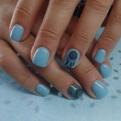 Blue Boho Acrylic Nails