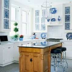 blue kitchen cabinets, white walls, inky blue  crisp white, beach,Blue And White Kitchen Decor,Kitchen decorating