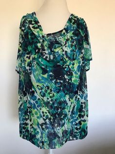 LANE BRYANT Cowl Neck Top Size 22/24 Short Sleeve Blue Green Sheer Top #1025 #LaneBryant #Blouse #Casual