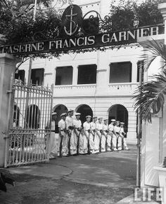 Saigon 1948 – French soldiers standing guard in front of memorial, in French Indo China.