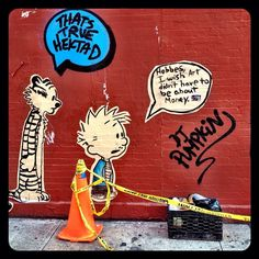 #justmakeart #streetart #graffiti #urbanart #wallart #graffiticollaboration #eastvillage #nyc #newyork #manhattan #art #calvinandhobbes #hektad #les #comics #hektadandhobbes