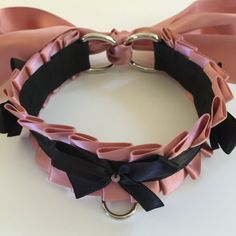 Salmon and Black Kitten Play BDSM Slave Collar by TheFlirtyKitten on Etsy