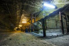 Inside a salt mine in abandoned tunnels. Yekaterinburg Russia.