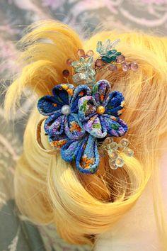 Pince à cheveux d'inspiration japonaise en tissu