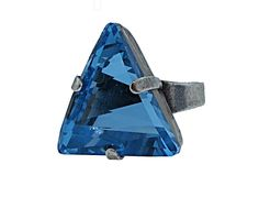 Gorgeous Triangle Ring   20mm Triangle Swarovski Crystal in Blue encased in Antique silver adjustable ring.