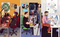 """Avec se série """"Devexperts"""", l'illustrateur russe Dmitry Narozhny dresse le portrait des différents styles de développeurs qu'il a croisé. Du fan de Star Wars au hipster super-connecté en passant par lawebmasterd'un site de voyages ou le fan d'Apple, à vous de chercher lequel vous correspond le plus."""