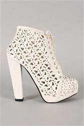 Refresh Ruth-01 White Perforated Lace Up Platform Bootie