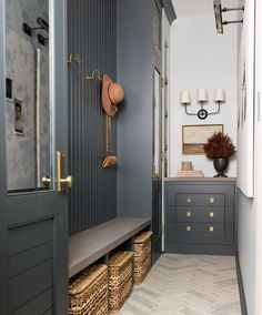 I oddly enjoy turning non functional, awkward little spaces into beautiful rooms with alllll the sneaky storage. Loved how this hallway turned mudroom came out at projectoffwiththeangles House Design, Mudroom, House, Interior, Home, Building A House, Mudroom Design, House Interior, Interior Design