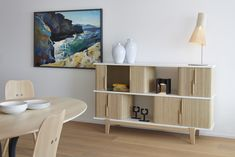 Hommage sideboard by Swiss Designer Trio Atelier Oï in cooperation with Röthlisberger Kollektion. Sideboard, Designer, Furniture Design, Shelves, Living Room, Stylish, Storage, Table, Mood