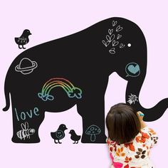 Elephant Chalkboard Decal is peel and stick. NO TOOLS REQUIRED. Easy to remove and reuse without damaging your walls.