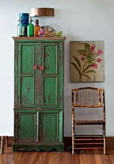 Trendy Ideas For Painting Wood Furniture Green Paint Furniture, Rustic Furniture, Furniture Makeover, Furniture Inspiration, Interior Inspiration, Furniture Ideas, Deco Boheme, Deco Originale, Interior Decorating
