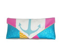 Turquoise Shimmer Anchor Leather Envelope Clutch is perfect to brighten your back to school wardrobe